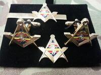 REME Square+ Compass Cufflink, Tieslide, lapel pin set, Masonic Craftsman,