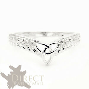 7e5497d48ab 9ct REAL White GOLD GENUINE DIAMOND Celtic Trinity Wishbone Wedding ...