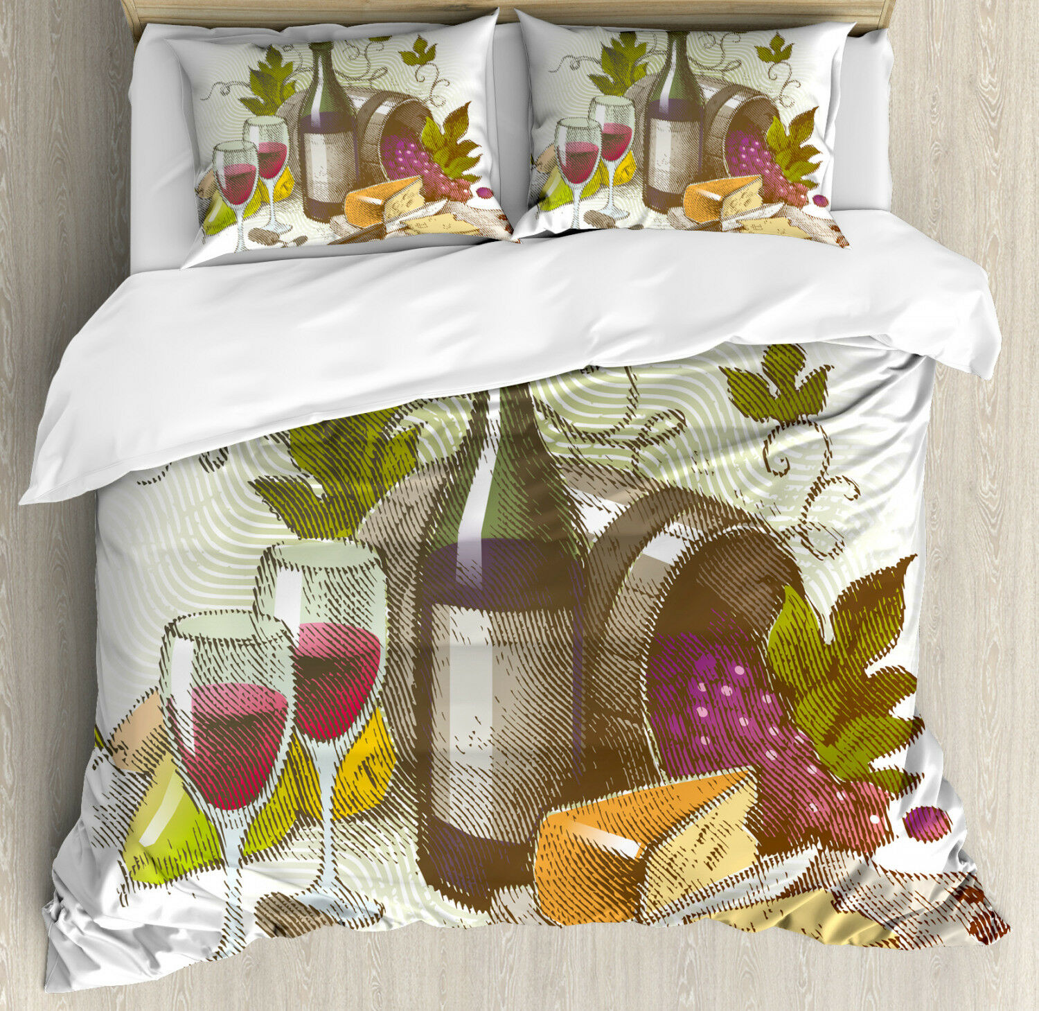 Wine Duvet Cover Set with Pillow Shams Vintage Wine and Cheese Print