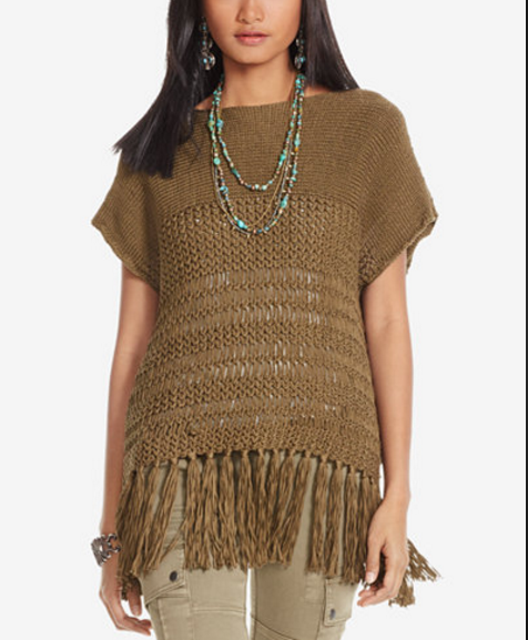 Polo Ralph Ralph Ralph Lauren NWT  198 Women XS Fringe Slip-Over Sweater Olive Brown S S NEW c45240