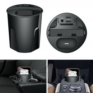 12-24V-5A-QI-Fast-Wireless-Car-Charger-Cup-w-2-USB-For-IPhone-AirPods-Headphone