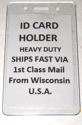 4 Vertical ID Card Badge Holders Heavy Duty Clear Plastic School Cruise Work Bus