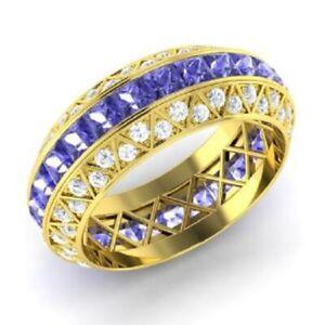 3.70 Ct Princess Diamond Tanzanite Wedding Eternity Band 14K Yellow Gold Size 9