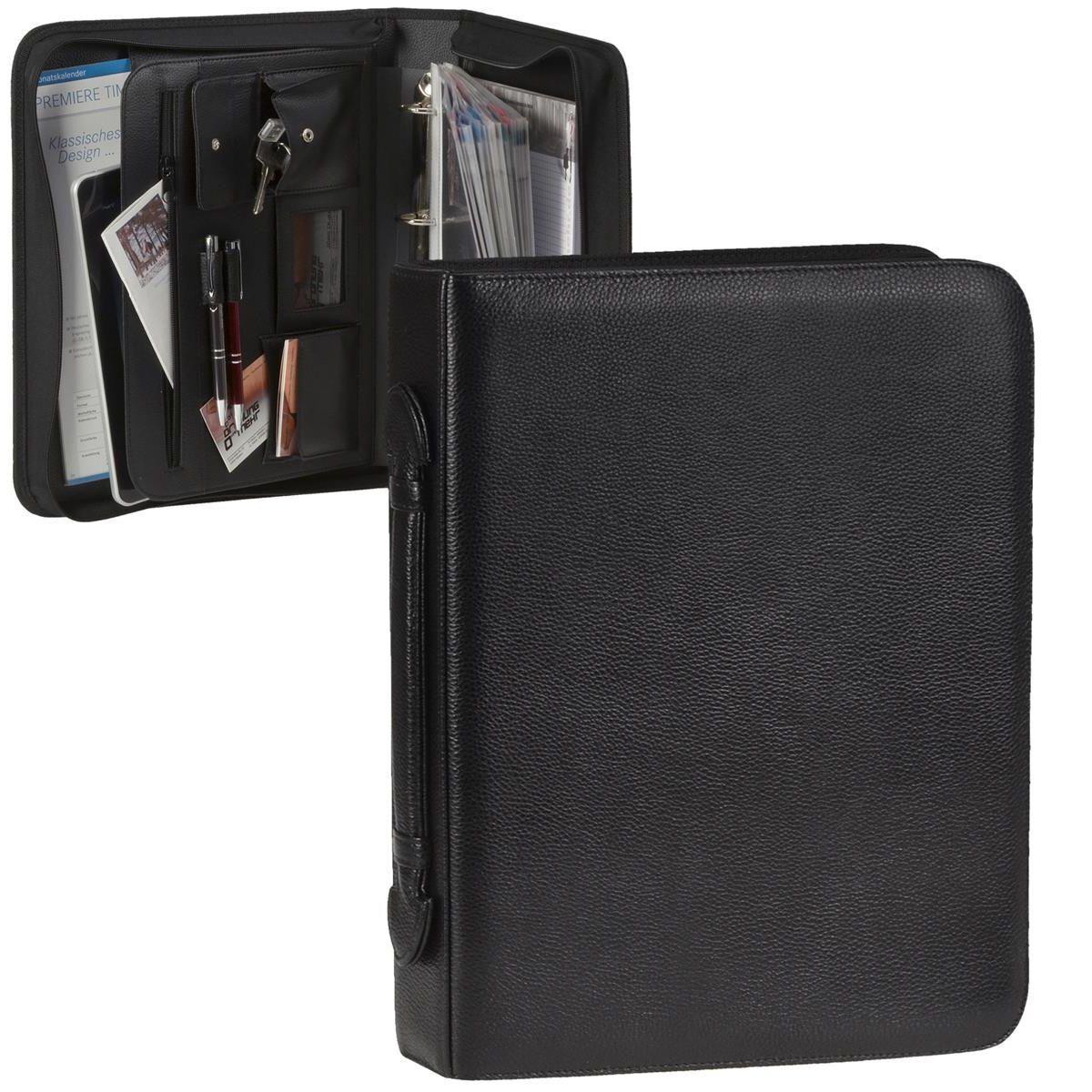 Dermata Leder Konferenzmappe Ringbuchmappe 30mm Schreibmappe+Visitenkartenhüllen | Elegant  | Ästhetisches Aussehen  | Elegant