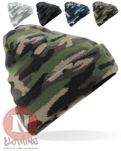 8f7433dcc59 Camo Beanie Hat with turn up acrylic camouflage beenie winter ...
