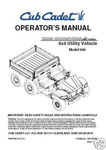 cub cadet owners manual model 640 6x4 utility vehicle. Black Bedroom Furniture Sets. Home Design Ideas