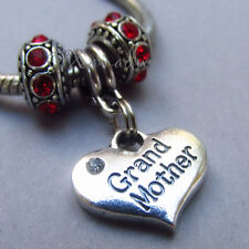 Grandmother Heart European Bead Pendant With Birthstones For Charm Bracelets