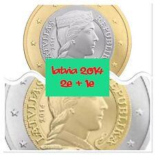 Letonia 1 y 2 monedas de euro 2 2014 Rollo de nuevo BUNC.