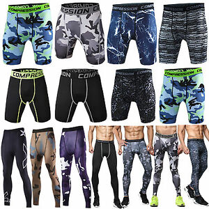 Mens-Camo-Thermal-Compression-Tights-Base-Layer-Pants-Shorts-Gym-Sports-Trousers