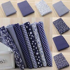 7Stk-DIY-Stoffpakete-Stoffreste-Blau-Blumen-Baumwolle-Patchwork-Tuch-25-25cm