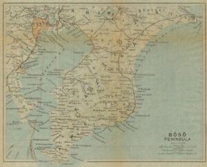 Japan 1914 Old Antique Map Plan Chart Chiba & Tokyo Bay Aspiring Boso Peninsula