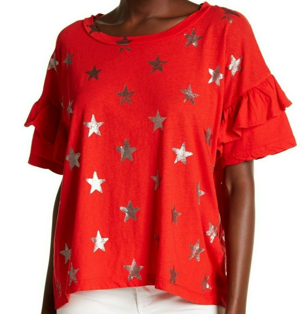 NWT CURRENT ELLIOTT Sz1=S THE RUFFLE ROADIE SHORT SLEEVE TOP rot FOIL STAR