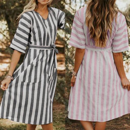 ZANZEA Damen Kleid Rundhals Gestreift V Neck Kleid Maxikleid Hemdkleid T Shirts