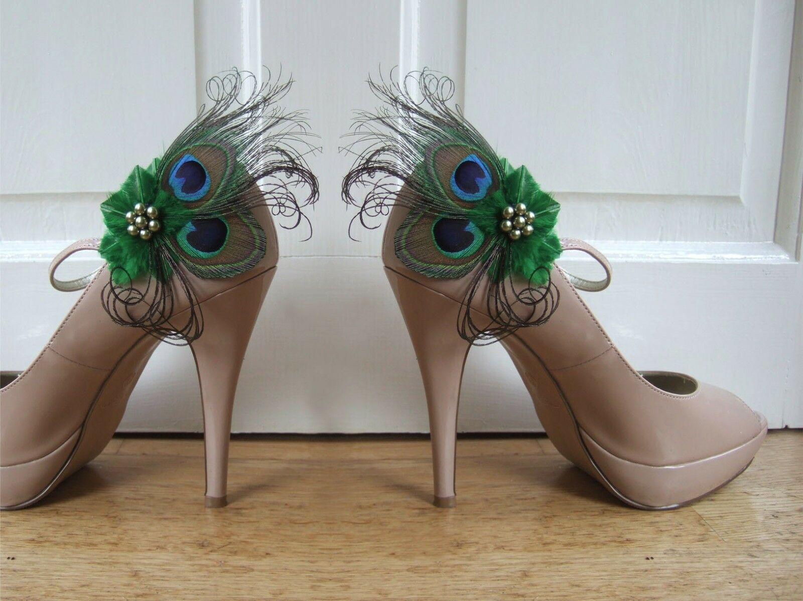 Bridal Wedding Peacock Feathers Emerald Green Shoe Clips