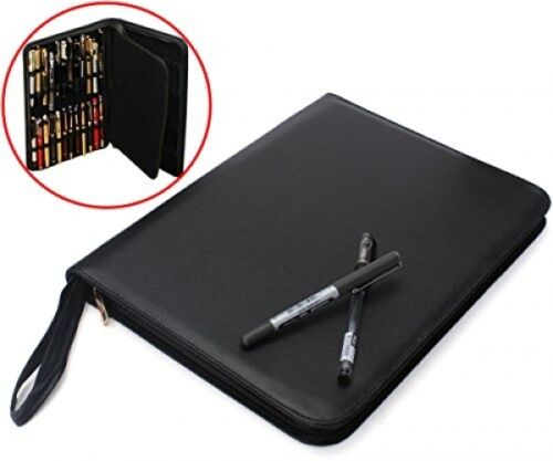 Fountain Pen Case Black Large PU Leather Pen Case For 48 Pen