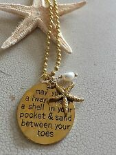 Gold Beach Coast Shell Ocean Charm Necklace with Freshwater Pearl. Love