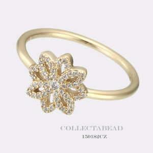 36a863683 Authentic Pandora 14K Gold Lace Botanique Clear CZ Ring Size 56 (7.5 ...