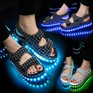 2017 womens LED Light USB Luminous Sandals Thong Casual Buckle ... 77f0492a5