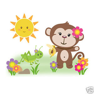 Jungle monkey wall art mural decal baby girl nursery for Baby jungle safari wall mural