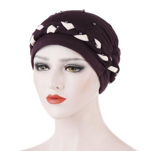 Braid Wrap Headscarf Beads Muslim Scarf Women Turban Beanie Bonnet Hat Chemo Cap