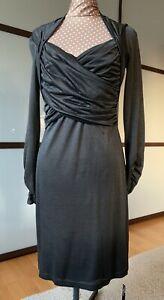 NICOWA Wickelkleid Designer Etui Kleid Stretch Grau ...