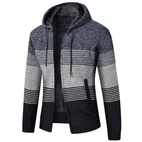 Herren Strickjacke Cardigan Winter Kapuze Jacken Sweatshirt Stricken Mantel DE