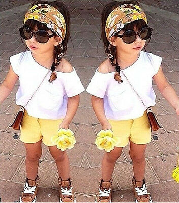 3Pcs Kids Baby Toddler Girls Off-shoulder Outfits Tops Pants Floral Scarf 1~8Y