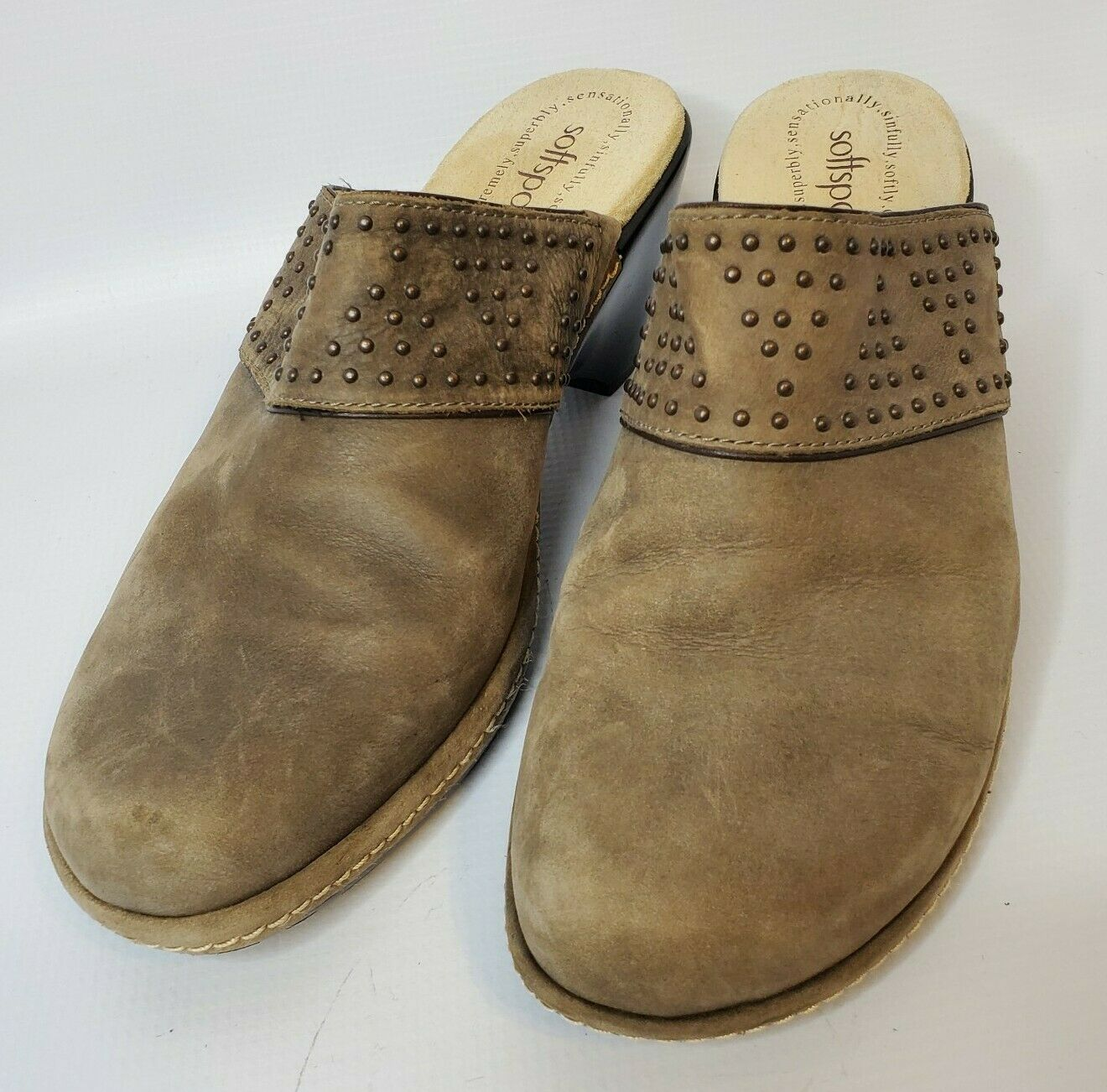 Softspots Womens Sz 9 Slip On Tan Nubuck Leather Mules Clogs w/studded design