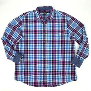 Bugatchi-Shaped-Fit-Shirt-Mens-Size-2XL-Flip-Cuff-Long-Sleeve-Collared-Button-Up