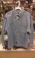 Port & Company Denim Long Sleeve Button Shirt - Medium - 1 Pocket - 100% Cotton