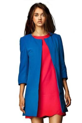 Victoriav-manteau court Longblazer Blazer Élégant Veste Bleu Taille 36-44 Neuf