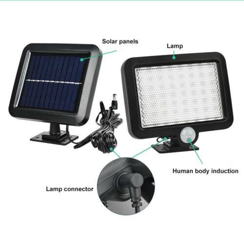 56 LED Solarleuchte mit Bewegungsmelder Außen Fluter Gartenstrahler Solar Lampe