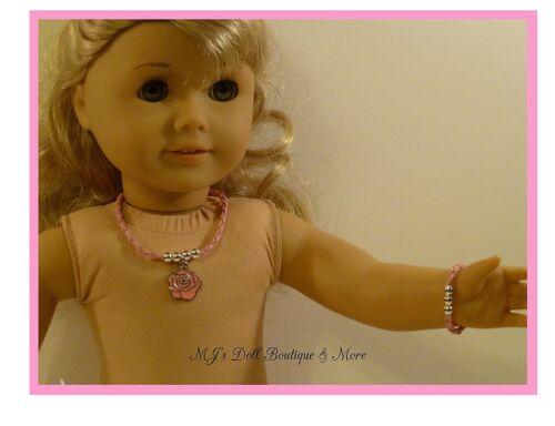 Pink Rose Necklace /& Bracelet Set fits American Girl Doll