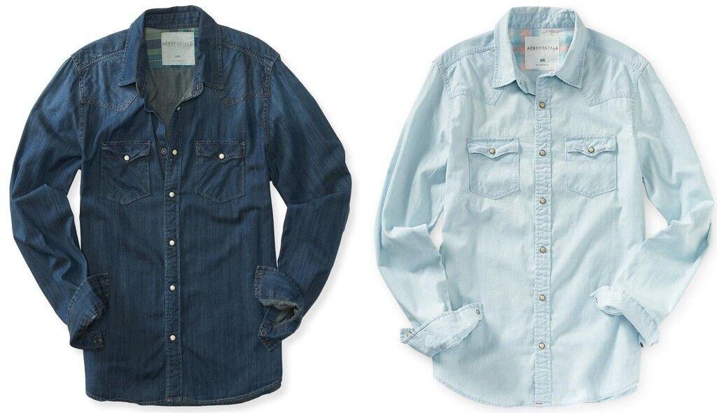 AERO Aeropostale Mens Long Sleeve Denim Western Shirts  S,M,L,XL,2XL,3XL NEW NWT