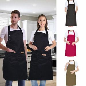 Women-Men-Waterproof-Kitchen-Bib-Aprons-Dress-Chef-BBQ-Cooking-Baking-Restaurant