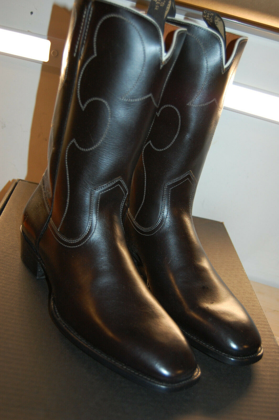 Nu Frye para hombre millas Vintage Puntada Tirar Occidental botas de  10 M handmad Negro