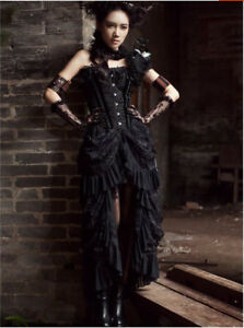 Women-039-s-Gothic-Style-Banquet-Party-Club-Evening-Dress-Party-Birdtail-Lace-Dress