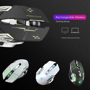 Sans-Fil-2-4Ghz-2400-DPI-optique-muet-Souris-Gaming-rechargeable-mice-retroeclaire-par-DEL
