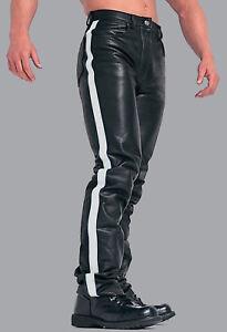 Hommes-cuir-veritable-MOTARDS-5-Poches-Pantalon-Disponible-en-3-Couleurs-Cuir-Rayures