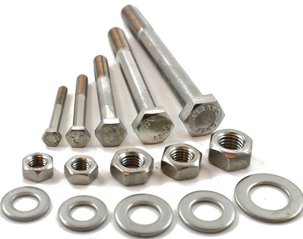 M8 A2 STAINLESS PART THREADED BOLT SCREW + FULL NUT & WASHERS HEXAGON HEX HEAD