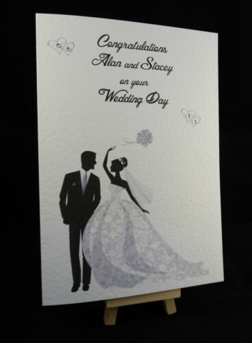 Personalised Handmade Congratulations on your Wedding Day Bride and Groom Card