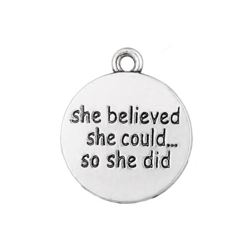 10Pcs She Believed She Could So She Did Inspirational Charms Tibetan Silver Bulk