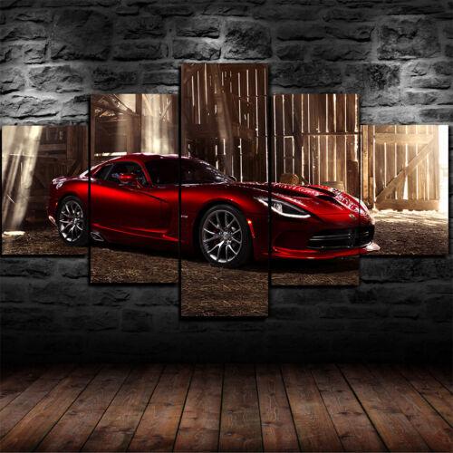 Framed Dodge SRT Viper GTS R SuperCar Poster 5 Piece Canvas Print Wall Art Decor