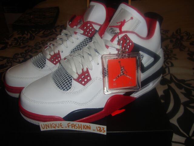 8a69468ab40fea Nike Air Jordan 4 Retro White Varsity Red Black UK 9 EUR 44 US 10 ...