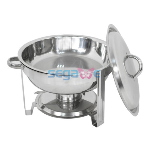 Round 4 Pack Chafing Dish 5 Quart Stainless Steel Full Size Tray Buffet Catering