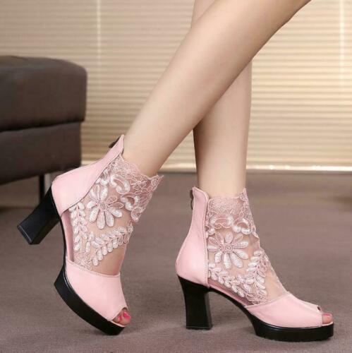 Womens Open Toe Chunky High Heels Lace Sandals Party Ankle Boots Hollow Shoes US