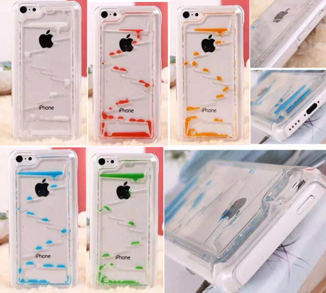 Clear Dynamic Liquid Water Drops Novelty Hard Case Cover For iphone 5/5C/6/Plus
