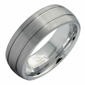 8mm-White-Tungsten-Carbide-Wedding-Band-2-Grooves-Brushed-Dome-Ring