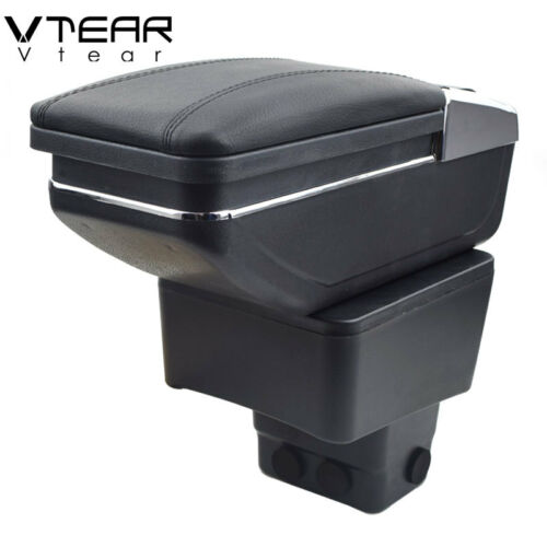 Vtear For Mazda 2 armrest box PU Leather central Store content box 2015-2018