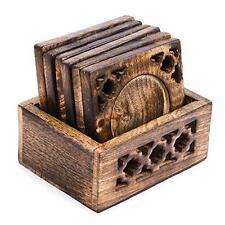 Fatto a mano indiano in legno per Tè Caffè Bere Coaster tabella Set di 6 con Supporto Regalo